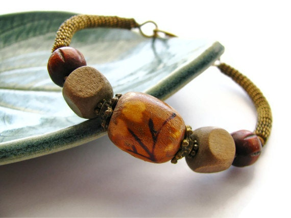 Asian Floral Bangle Cuff Bracelet Wire Wrapped with Antique Brass and Wooden Beads - heversonart