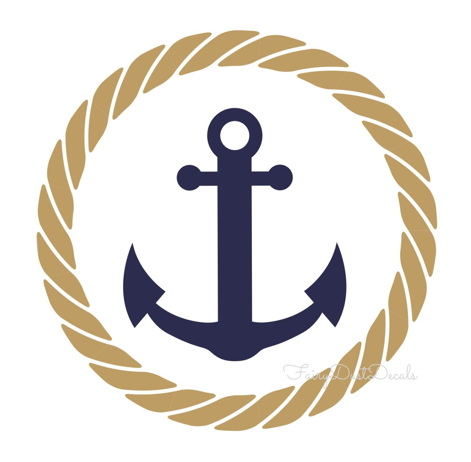 Rope circle with anchor wall decal nautical by fairydustdecals for Rope designs and more