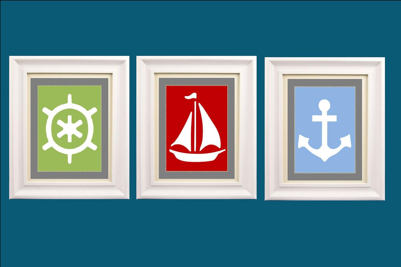 nautical nursery wall art set of three 8x10 by littlepergola. Black Bedroom Furniture Sets. Home Design Ideas