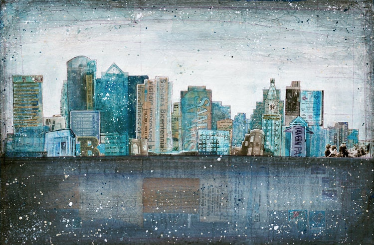 Dirty Water - large 24x16 paper print - mixed media Boston skyline painting collage, vintage paper blue grey typography urban - maechevrette