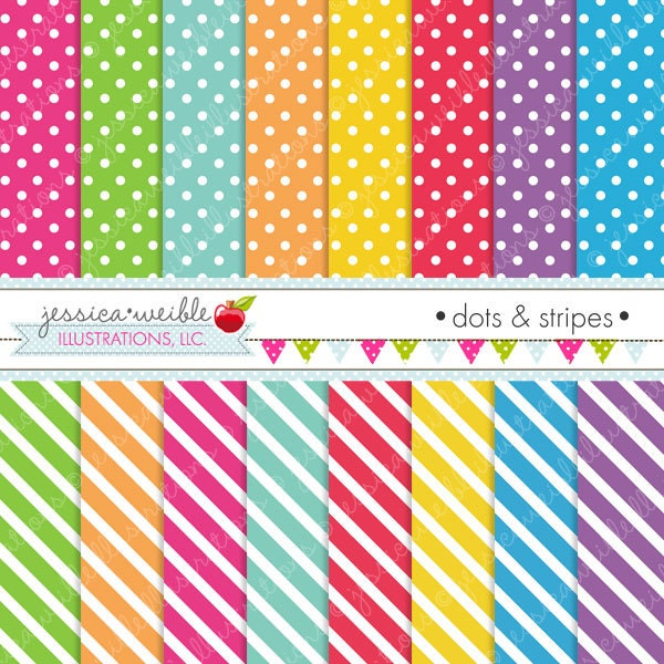 Dots and stripes cute digital papers backgrounds for for Dots and stripes party theme
