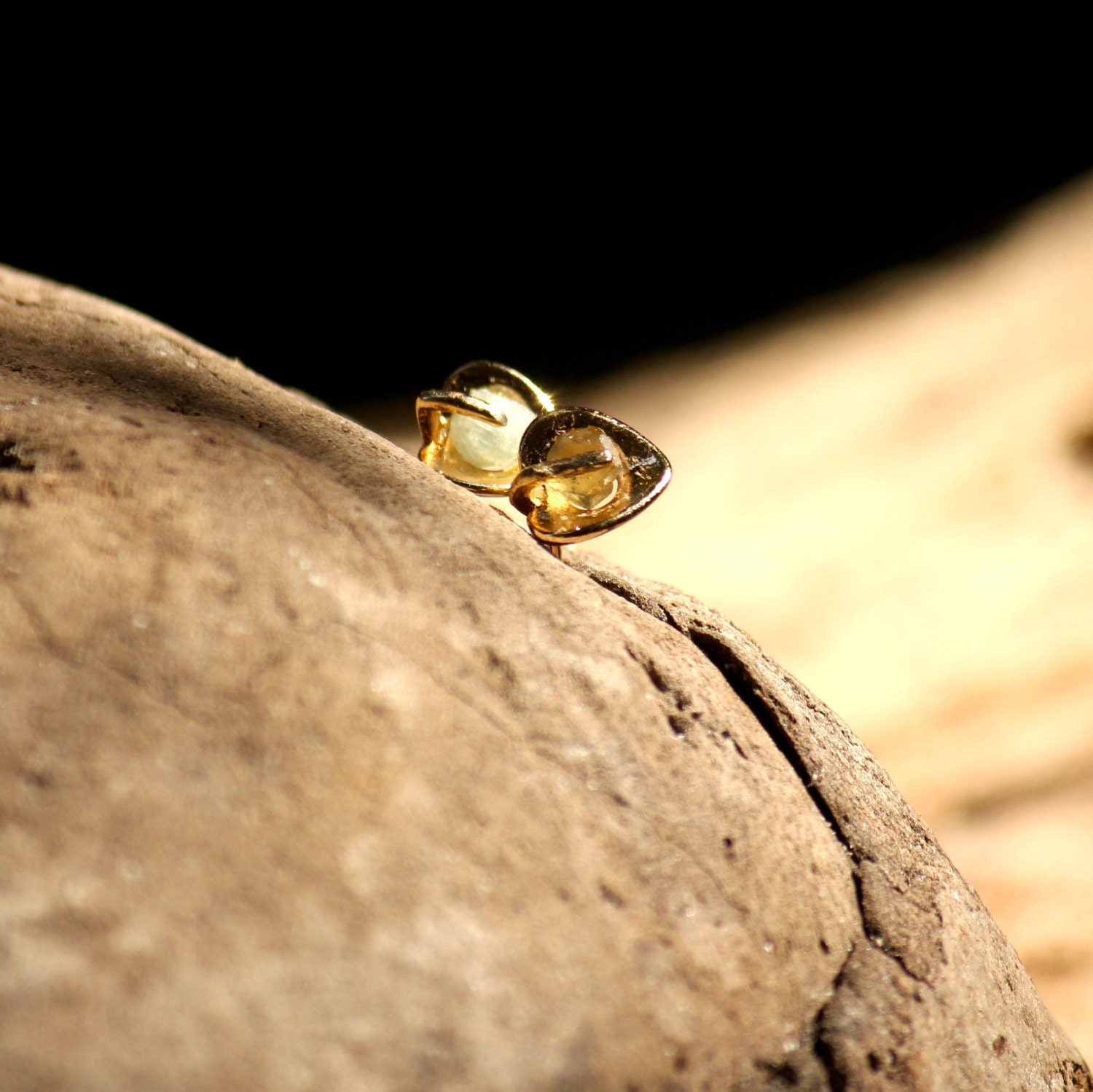 Gold filled ear post stud earrings with raw gemstones - GardensOfTheSun