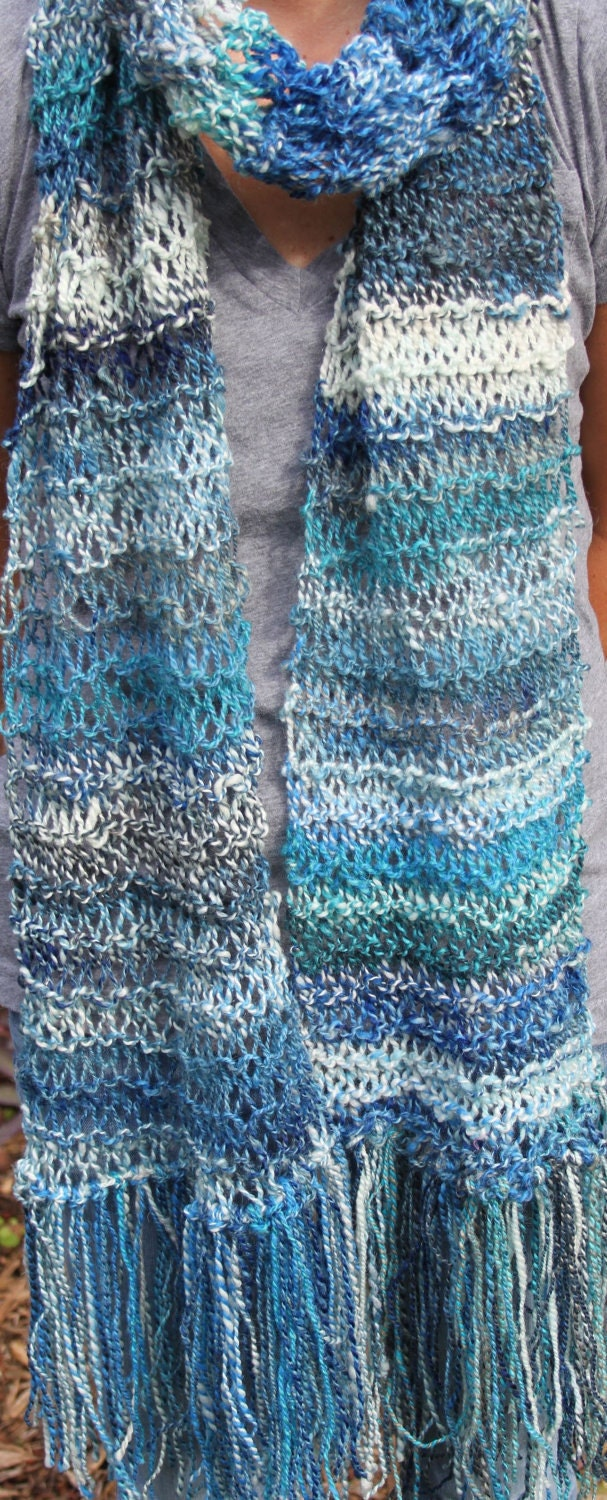 SALE Hand Knit Blue Scarf  named Mocking Jay  Hand spun Yarn part  Hand Knit Scarf For Sale