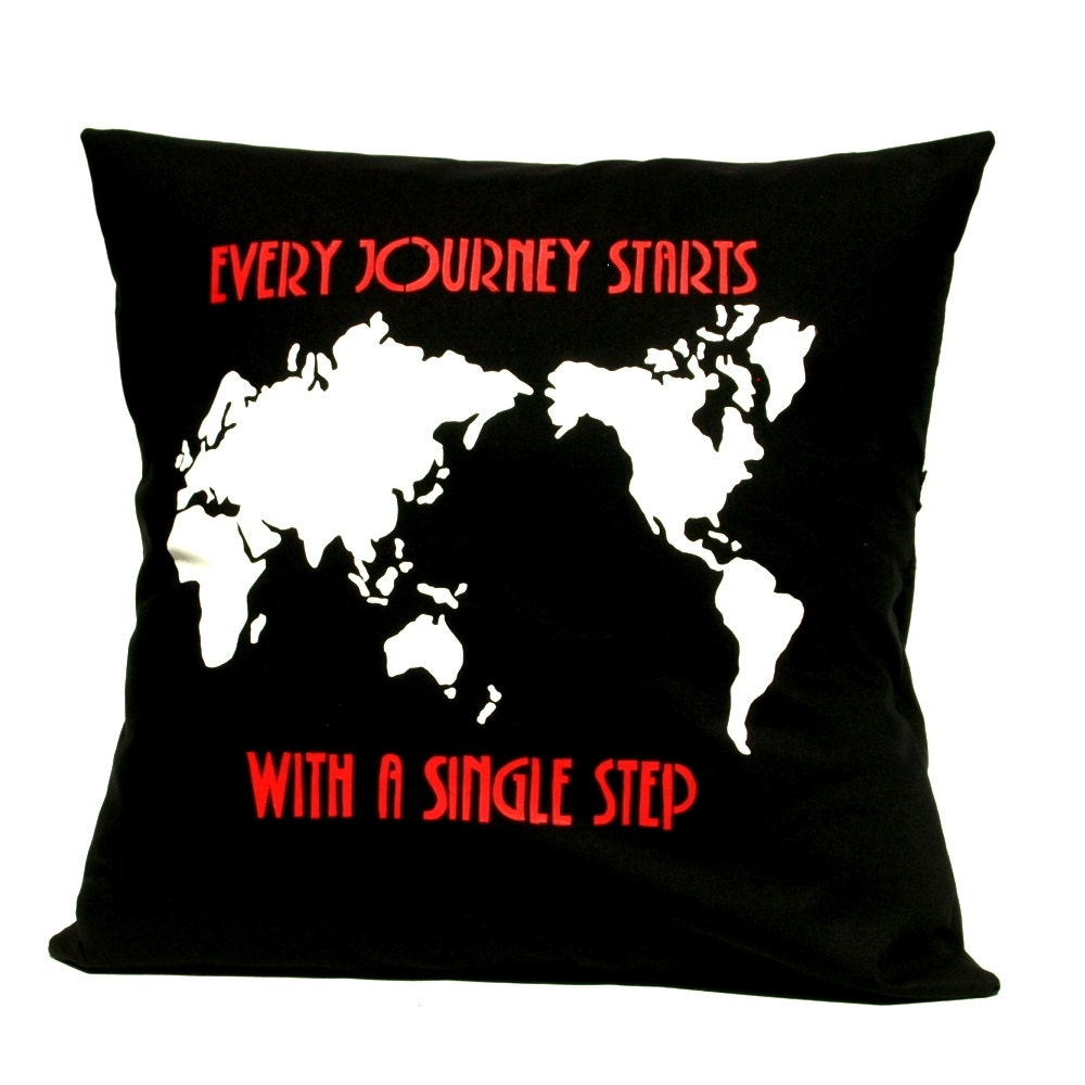 Pillow Cover - Every journey starts with a single step - Hand Screen Printed Pillow - linneaswedishdesign