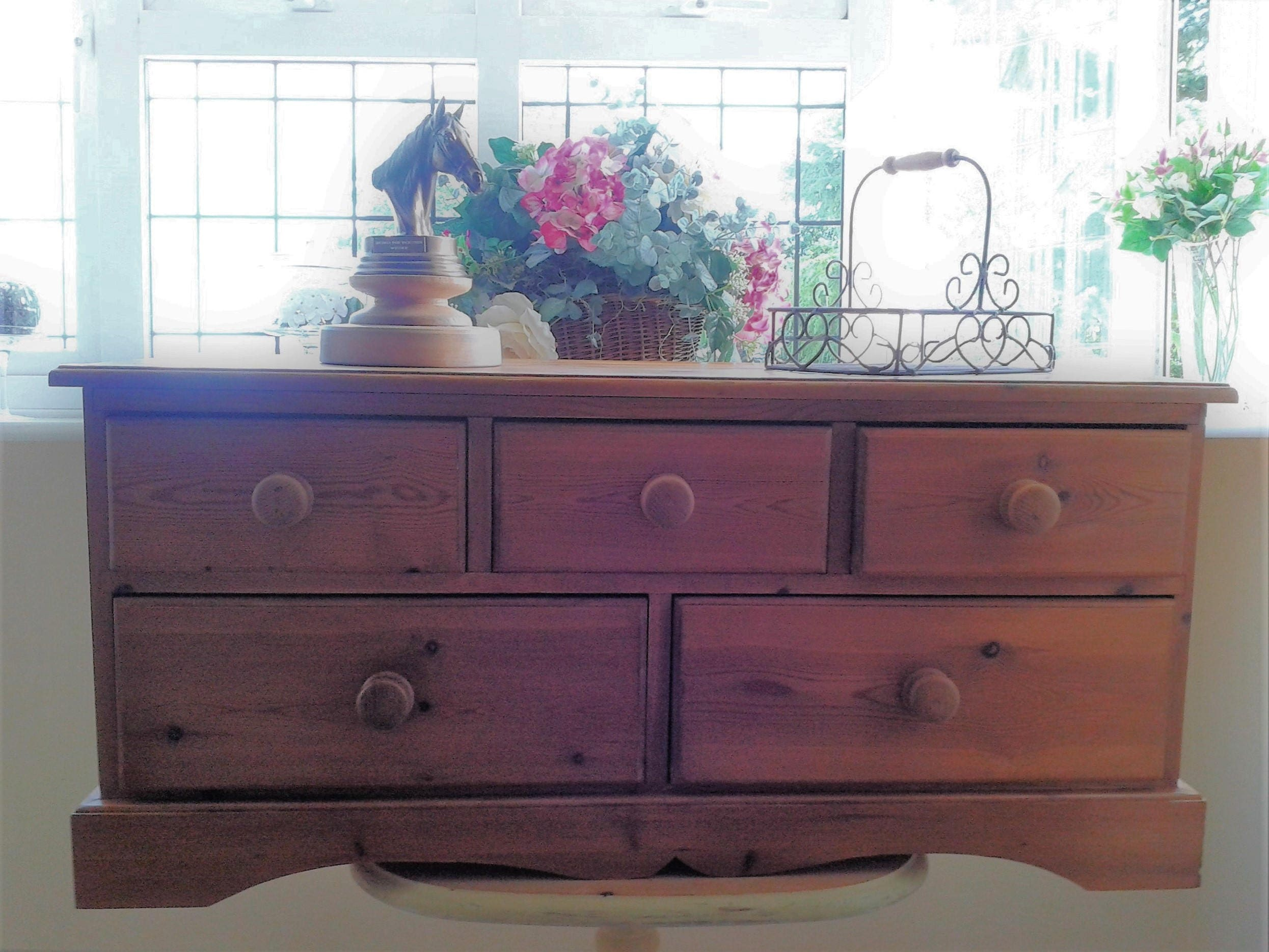 Upcycled Vintage Pine Chest of Five Drawers