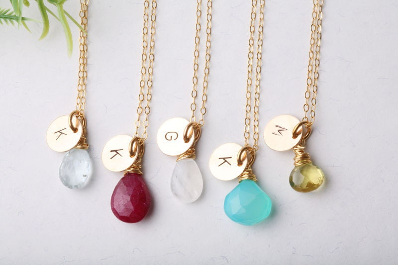 Bridesmaid gifts,5 necklaces,Personalized initial and birthstone,Gold filled,wedding jewelry,Monogram jewelry,custom