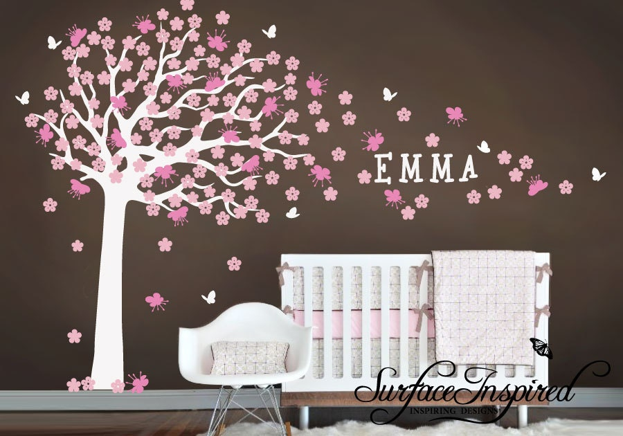 Wall Decals Nursery - Large cherry blossom tree with pink and soft pink blossoms - Baby Tree Wall Decals 900
