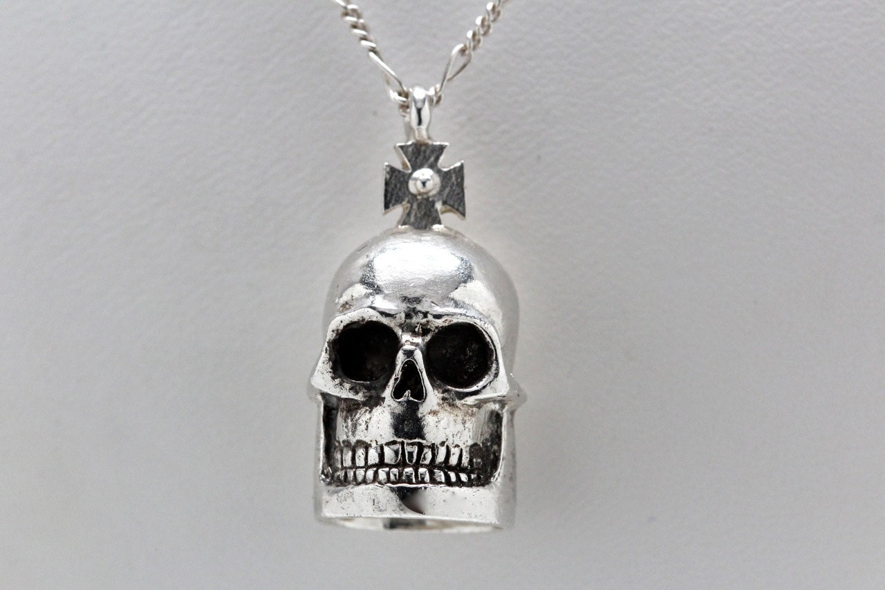 Skull Bell necklace Blue Bayer Design NYC - billyblue22