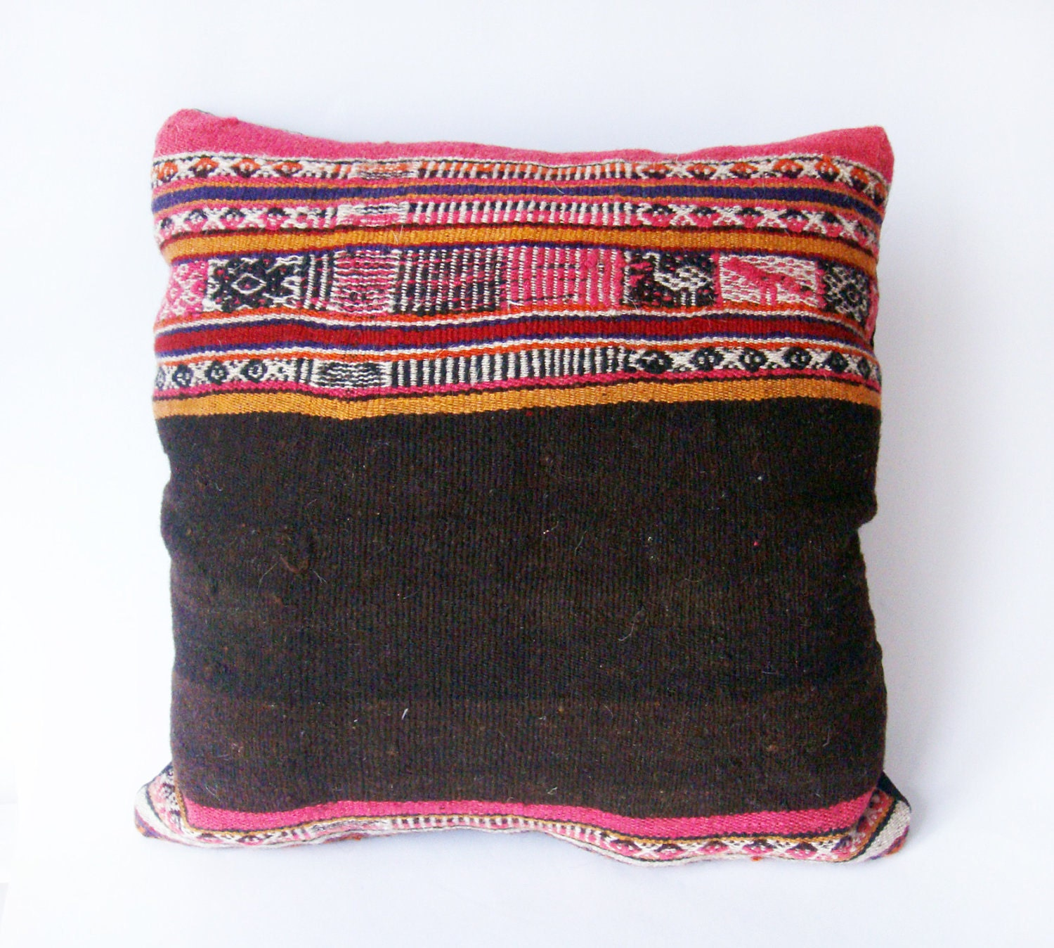 Items similar to Kilim Rustic modern Bohemian throw pillow Antique Romanian Hand Woven Pillow ...