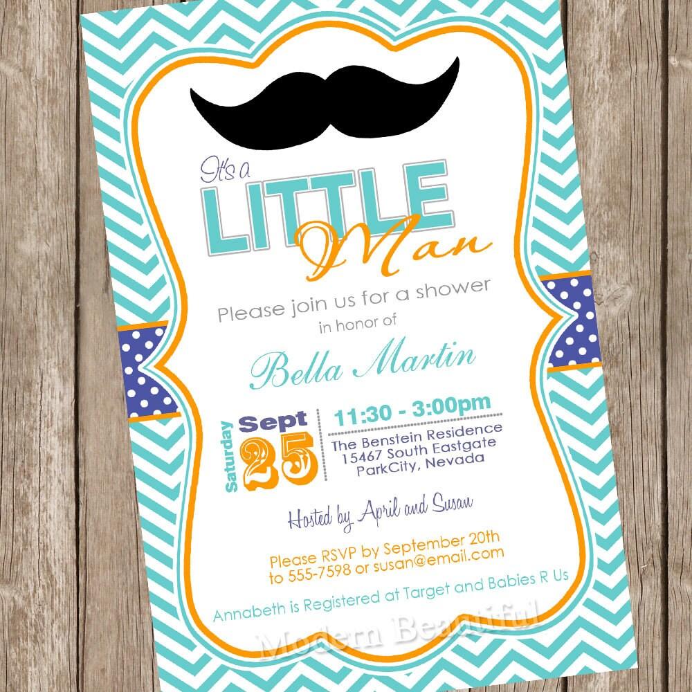 chevron mustache baby shower invitation by modernbeautiful on etsy