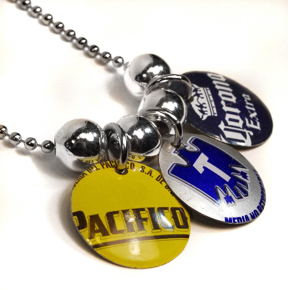 Recycled jewelry beer bottle cap charm necklace by wearwolf for Beer cap jewelry