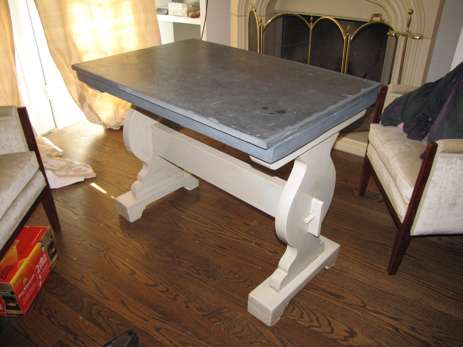 items similar to kitchen table with vintage soap stone top