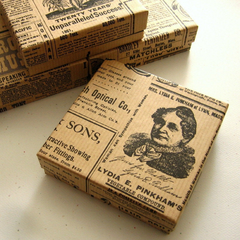 10 Jewelry Boxes Kraft Vintage Newspaper Newsprint 3.5 x 3.5 x 1 inch