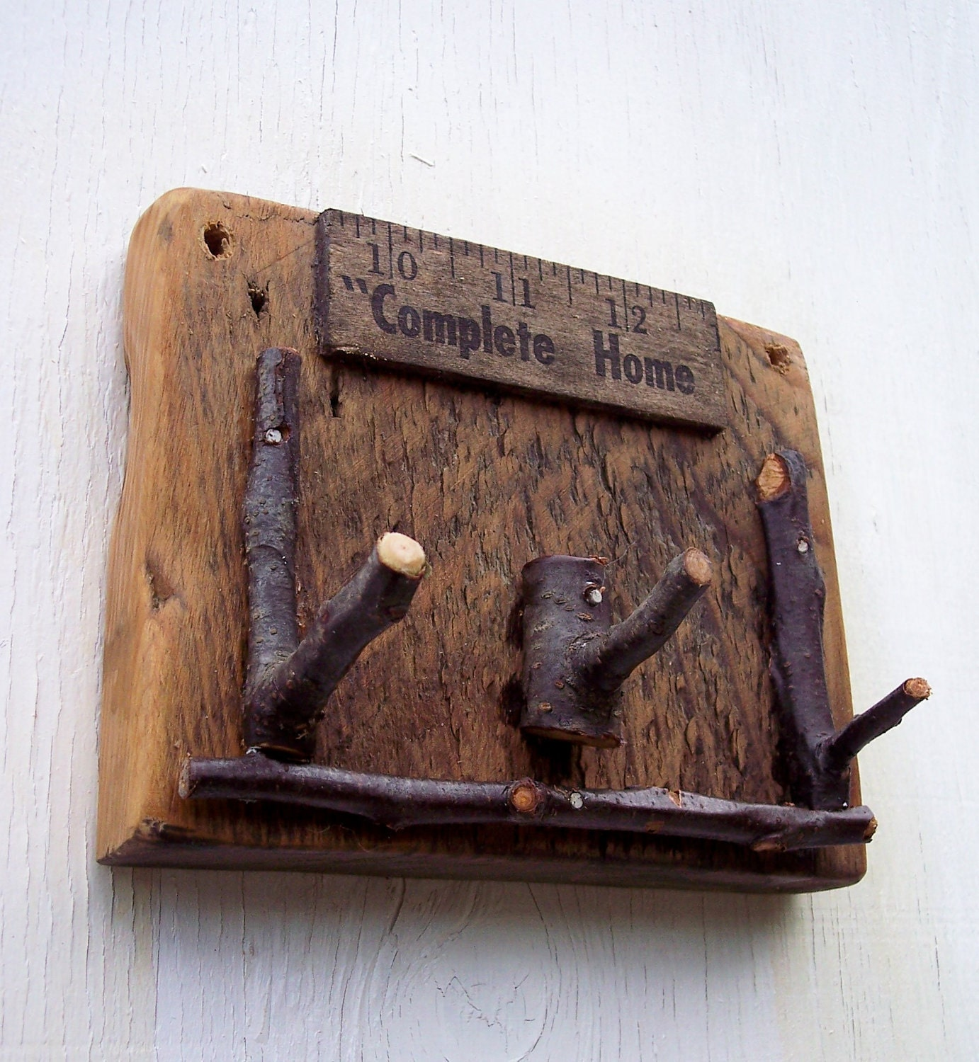 Reclaimed Key Rack Rustic Plum Wood Branch By Bearpawrustics. Full resolution  snapshot, nominally Width 1382 Height 1500 pixels, snapshot with #8D613E.