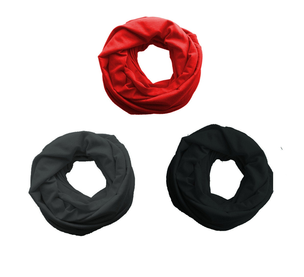 TODDLER Infinity Scarf, Kids Loop Jersey Scarf, 2-6 years old Baby circle scarf, black, charcoal gray, red - IskraAccessories