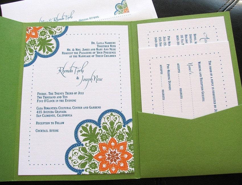 DIY Talavera Tile Inspired Wedding Invitation Pocket Folder