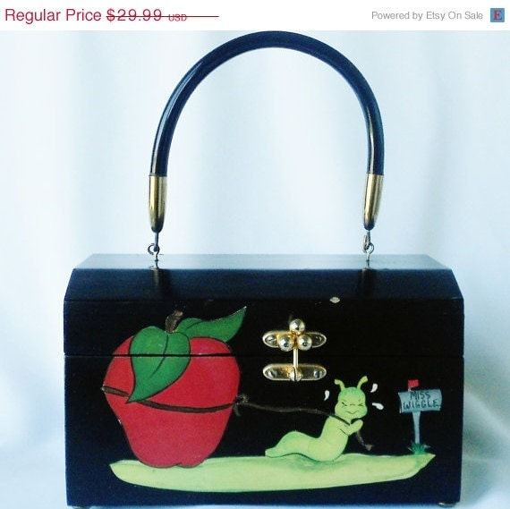 SALE Red Apple Black Box Purse Lucite Handle - normajeanscloset