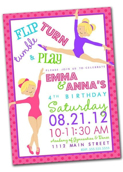 Gymnastic Party Invites is good invitation layout