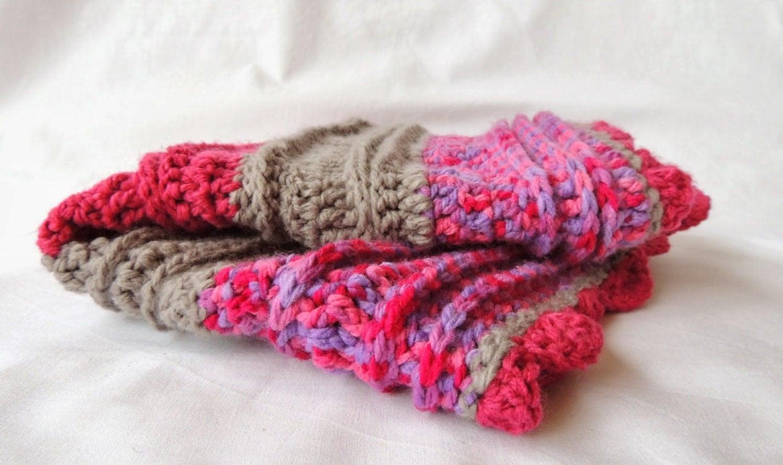 Deep Pink and Purple baby Girl Crochet Pram Blanket - Textured ribbing OOAK Blanket - JitterbugCraft