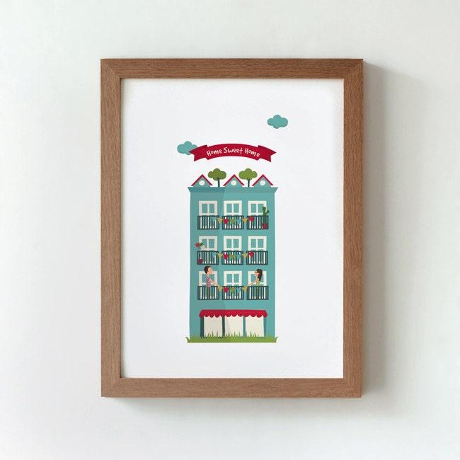 Hogar dulce hogar. Casa azul. Poster A4