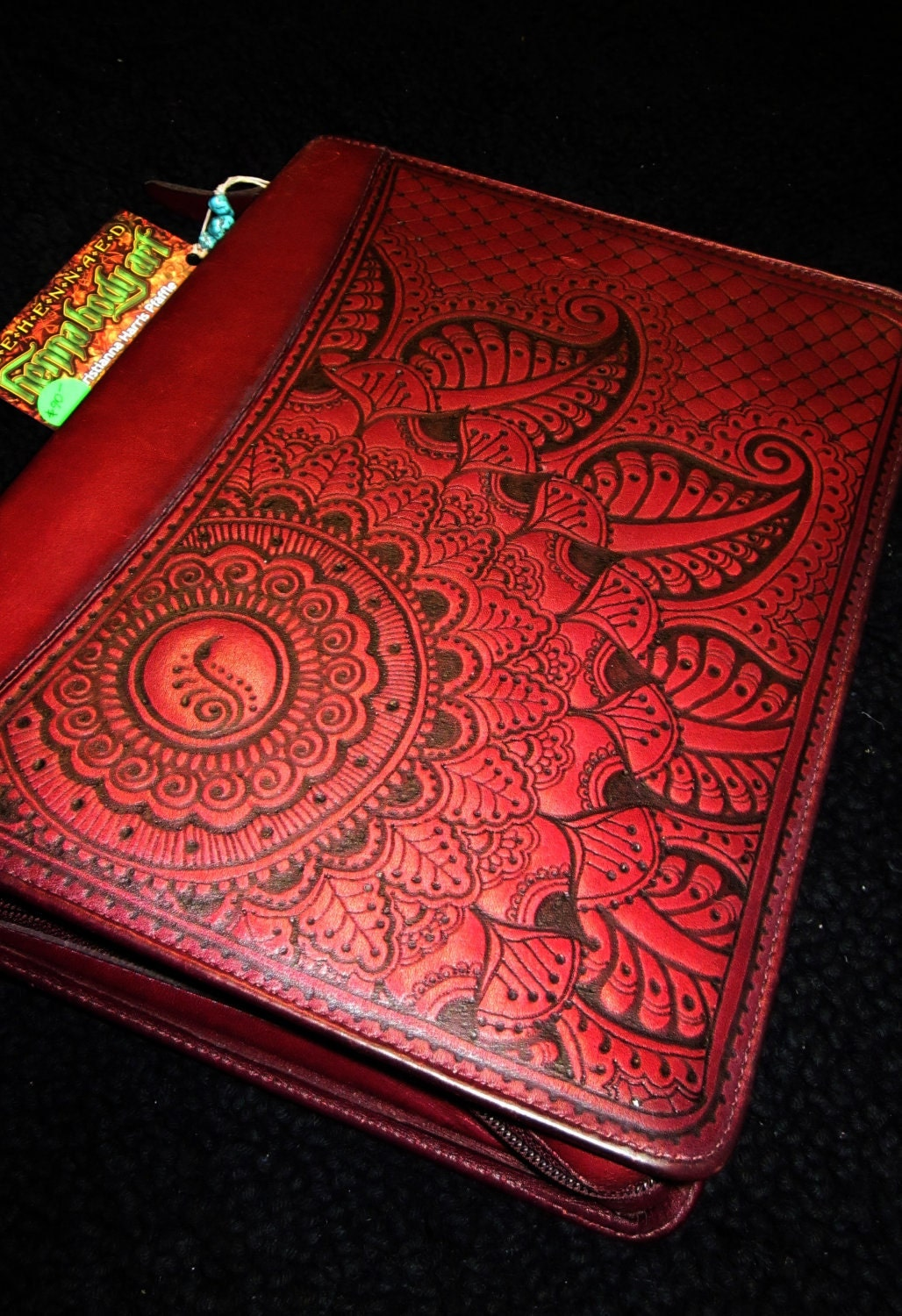 cranberry red franklin quest leather planner cover by