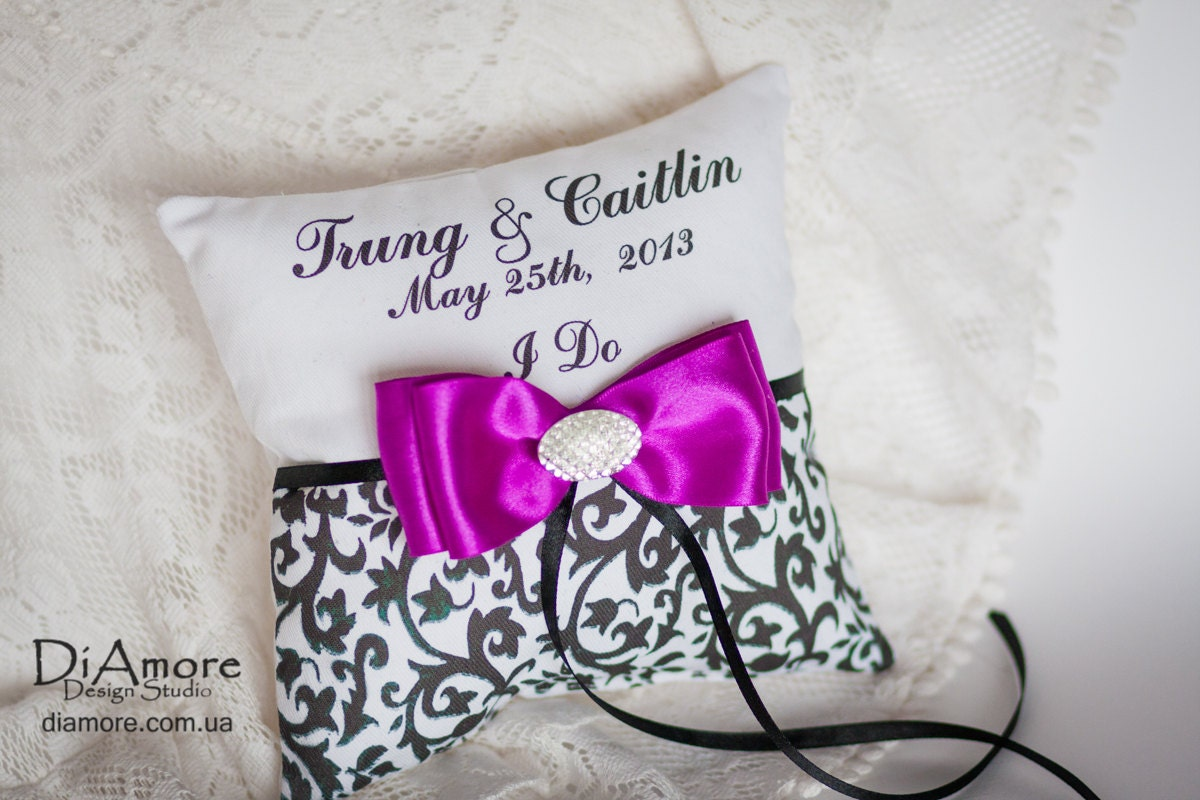 I DO -purple DAMASK ring bearer pillow / names, wedding date / Customizable Personalized Wedding Ring Pillows / black , white