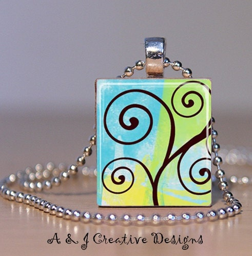 Whimsical Tree Scrabble Tile Pendant Necklace - FREE BALL CHAIN
