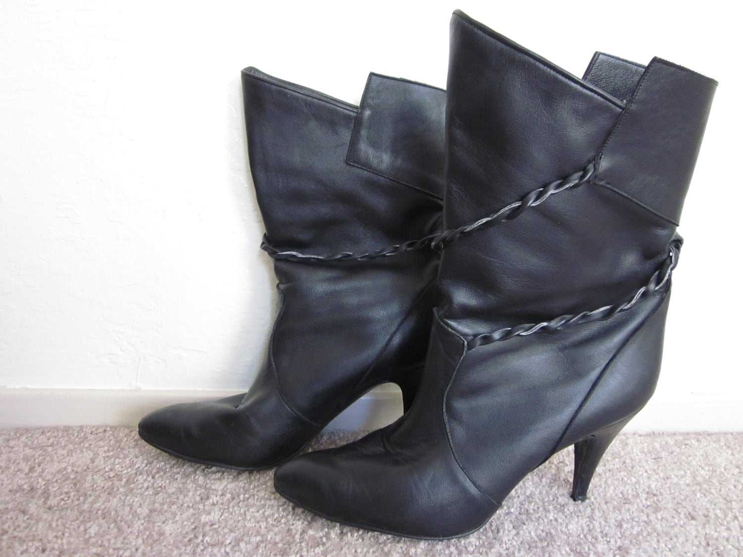 black leather pointy kitten heel boots with by thewitchinghour