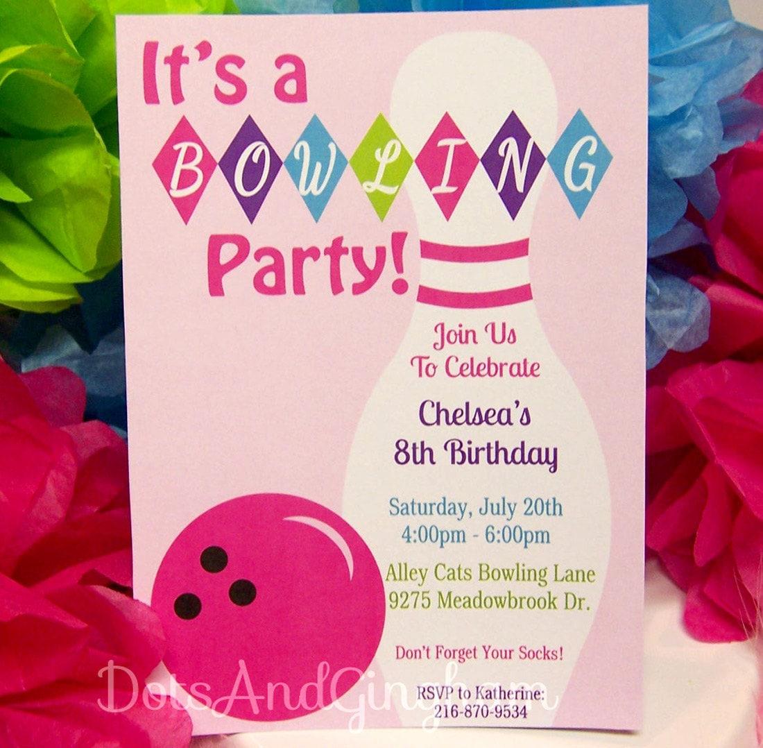Bowling Einladung-Bowling einladen-Bowling von DotsAndGingham