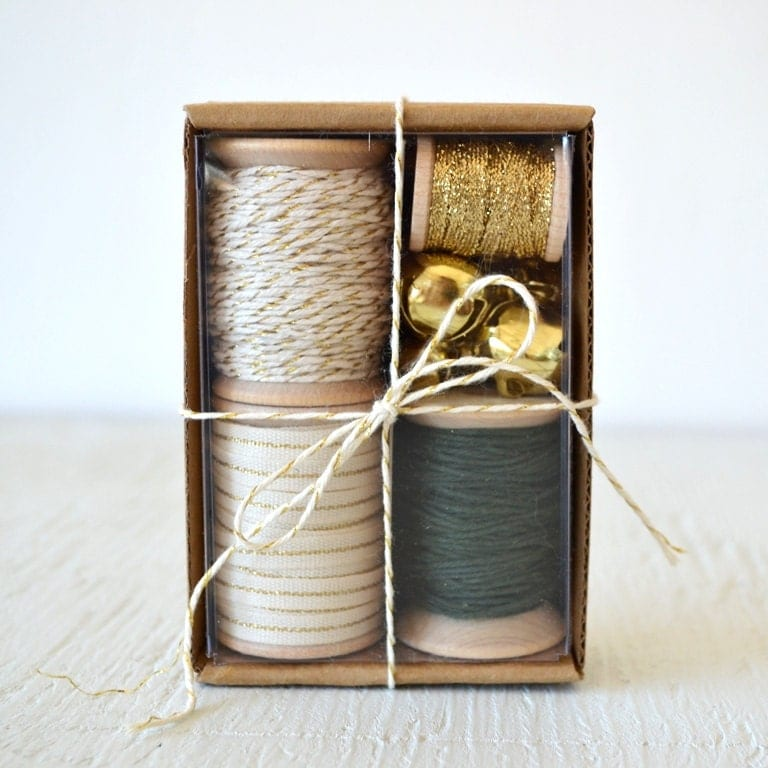 IVORY, GOLD and FOREST green gift wrap kit - holiday packaging kit with twine, ribbon and jingle bells - PaperAndPresent