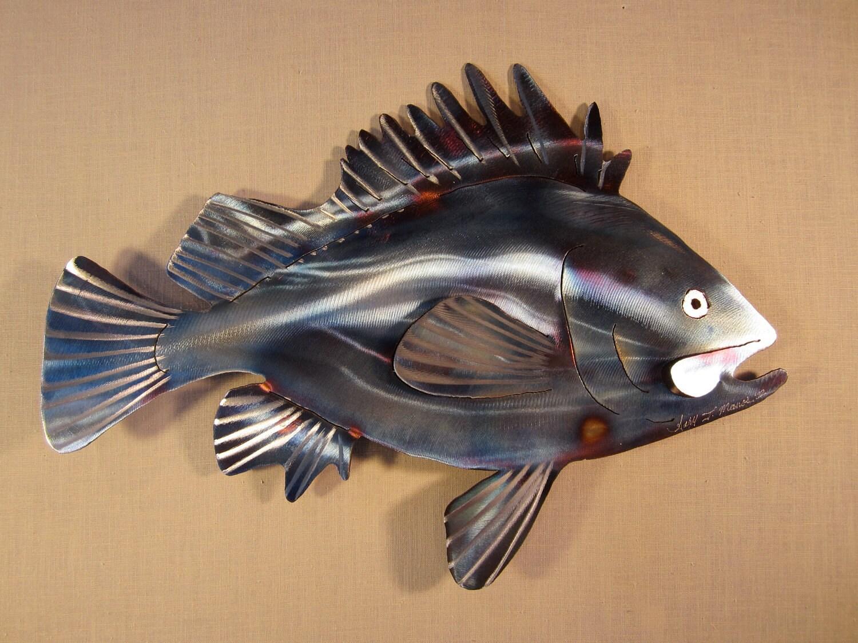 Rockfish black rock fish deep sea bass by steelknightdesigns for Metal fish art
