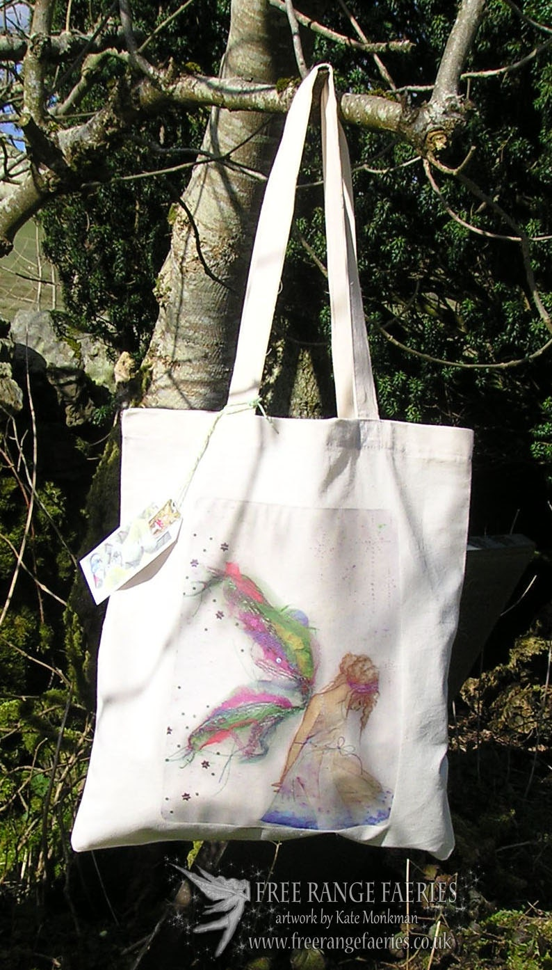 Tote BagCotton Eco Tote BagFaerie artFairy art Nature Fairy fabric faerieFairy designReuseable Shopping bag