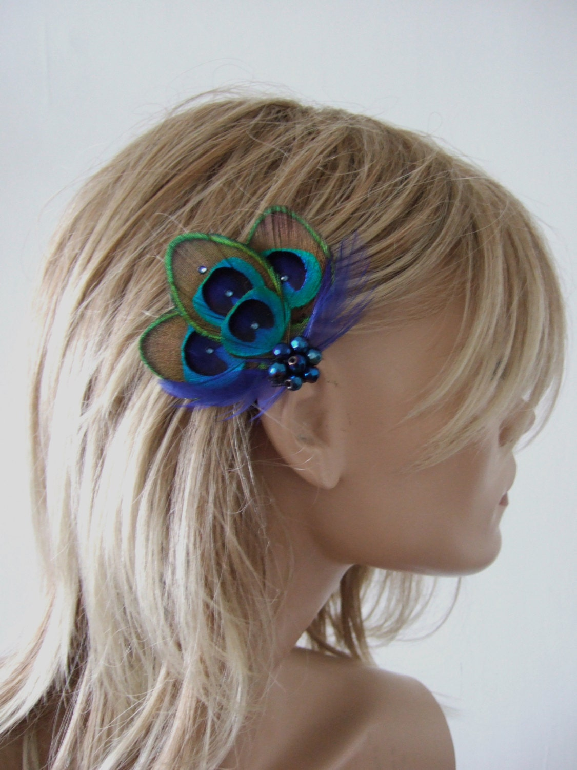 Peacock Feather Green Royal Blue Fascinator Hair Clip Bridal Noa  1 Day to Make  Bridesmaids Bride Flapper Gatsby Party Woodland Wedding