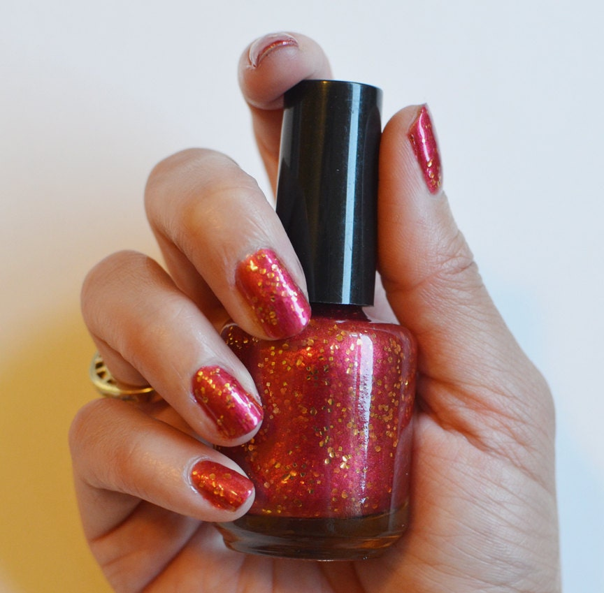 Nail Polish: Golden Gates - Red Polish with Gold Glitters
