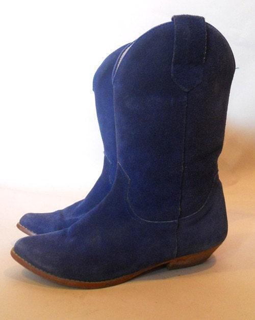 80s cobalt blue suede cowboy boots 7 5 8 by scarletbirdvintage