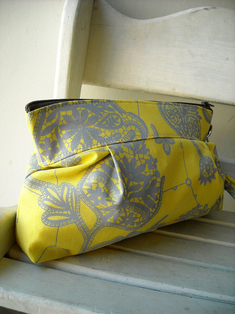 SALE - Lemon - Zipper Pouch with Clip