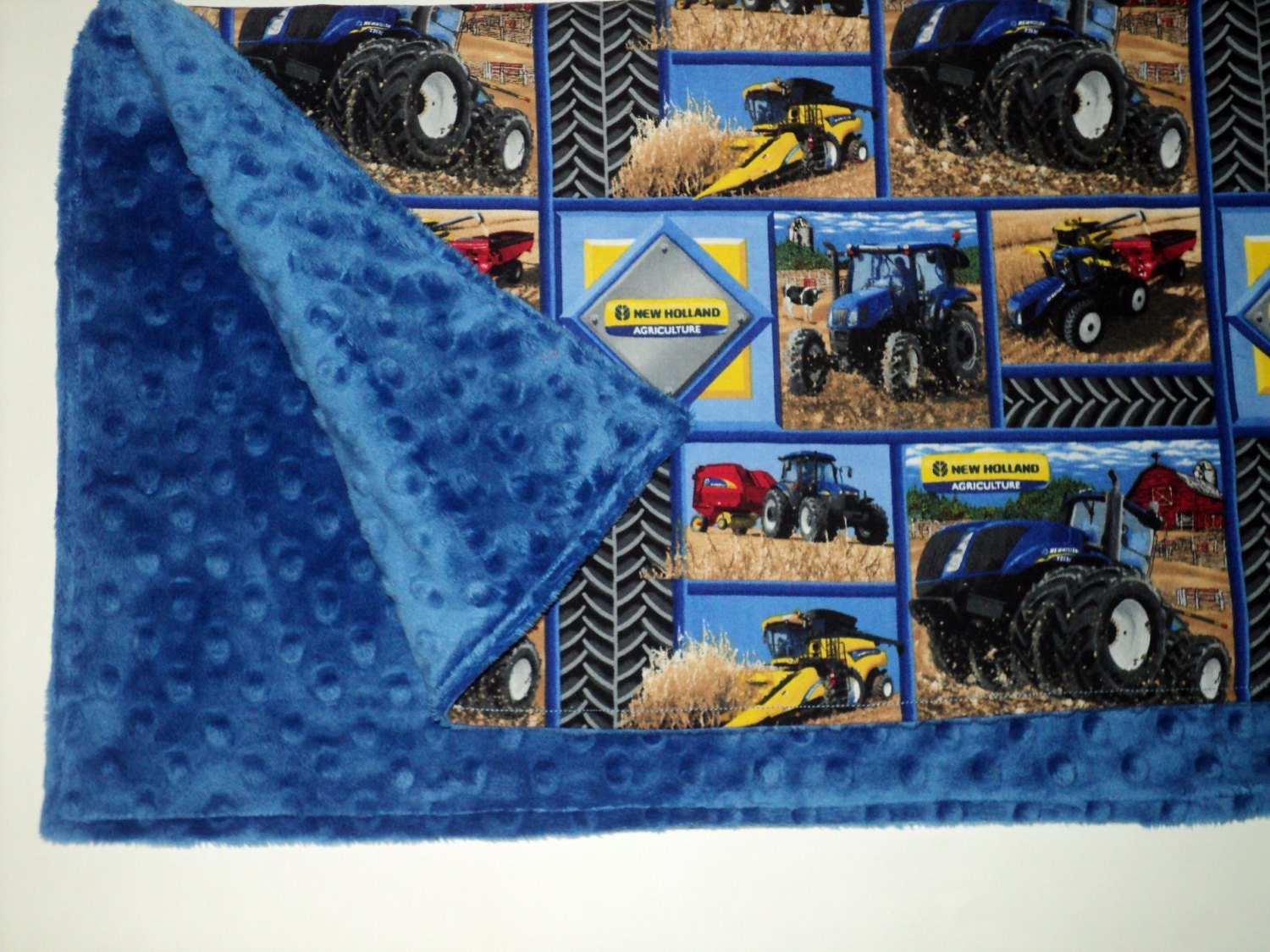 New Holland Tractor Fabric : New holland baby blanket security by auntbsbonnets