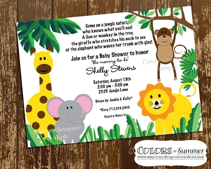 jungle themed baby shower invitation digital by colorsofsummer