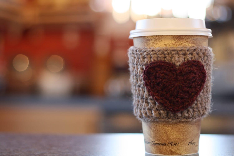 Crochet Coffee Cozy Heart Sleeve Reusable - honeysucklewild
