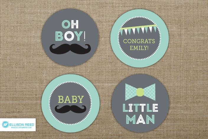 Little Man Baby Shower Mustache Cupcake Toppers Little