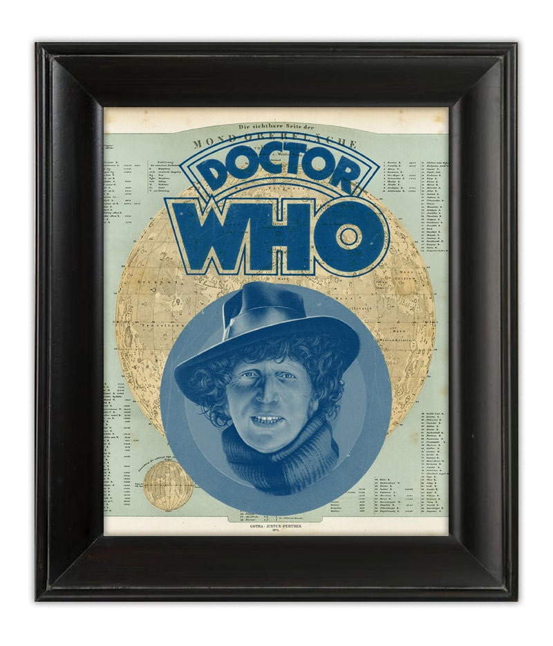 Tom Baker DOCTOR Dr WHO Original Art on Antique MOON Map Archival Art Print Illustration 8x10 - PatricianPrints