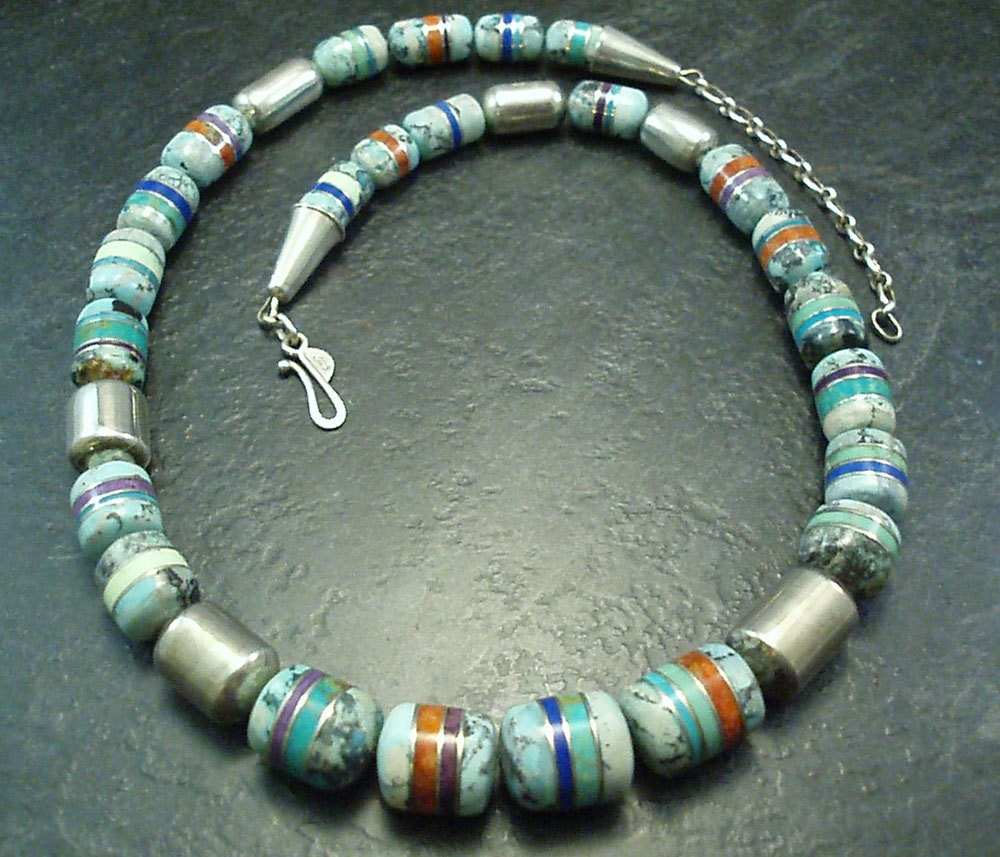 handcrafted inlay gemstone and sterling silver bead necklace  -  a one of a kind work of art