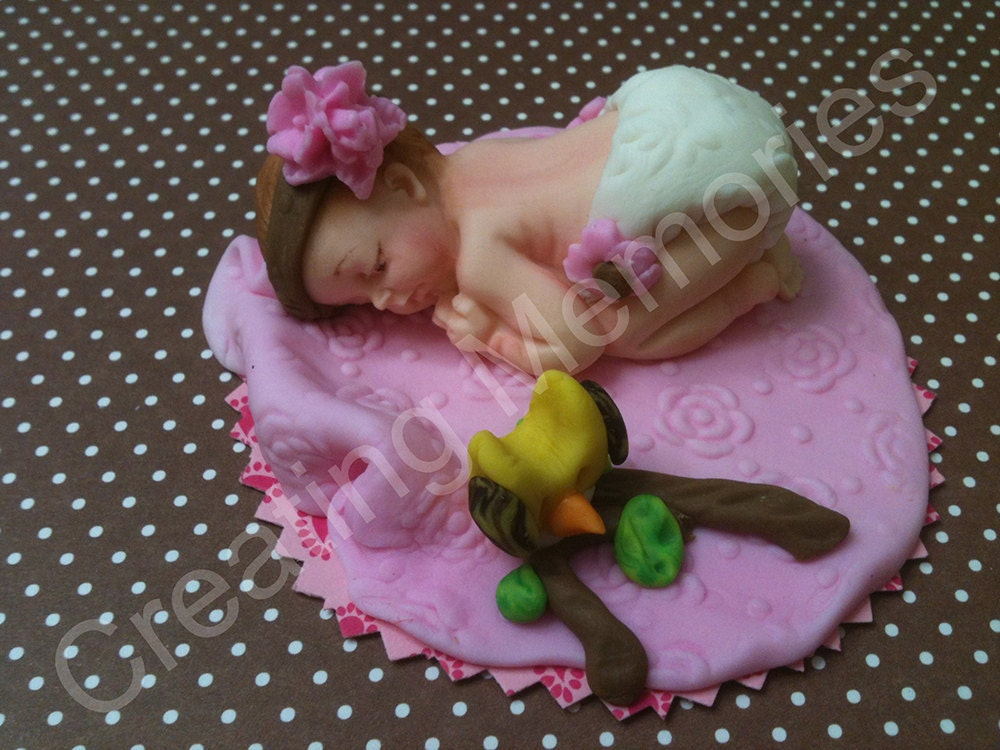 Little Girl with Toy Owl Edible Cake Topper BABY by anafeke