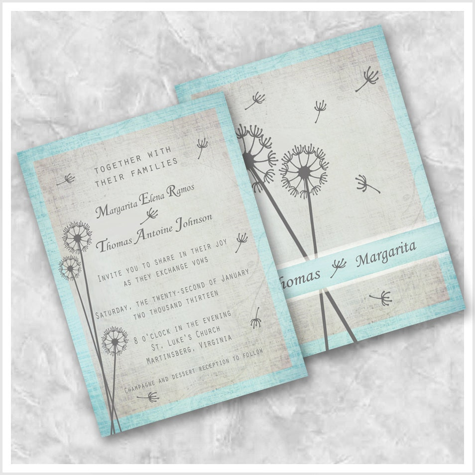 items similar to dandelion blue wedding invitation on etsy