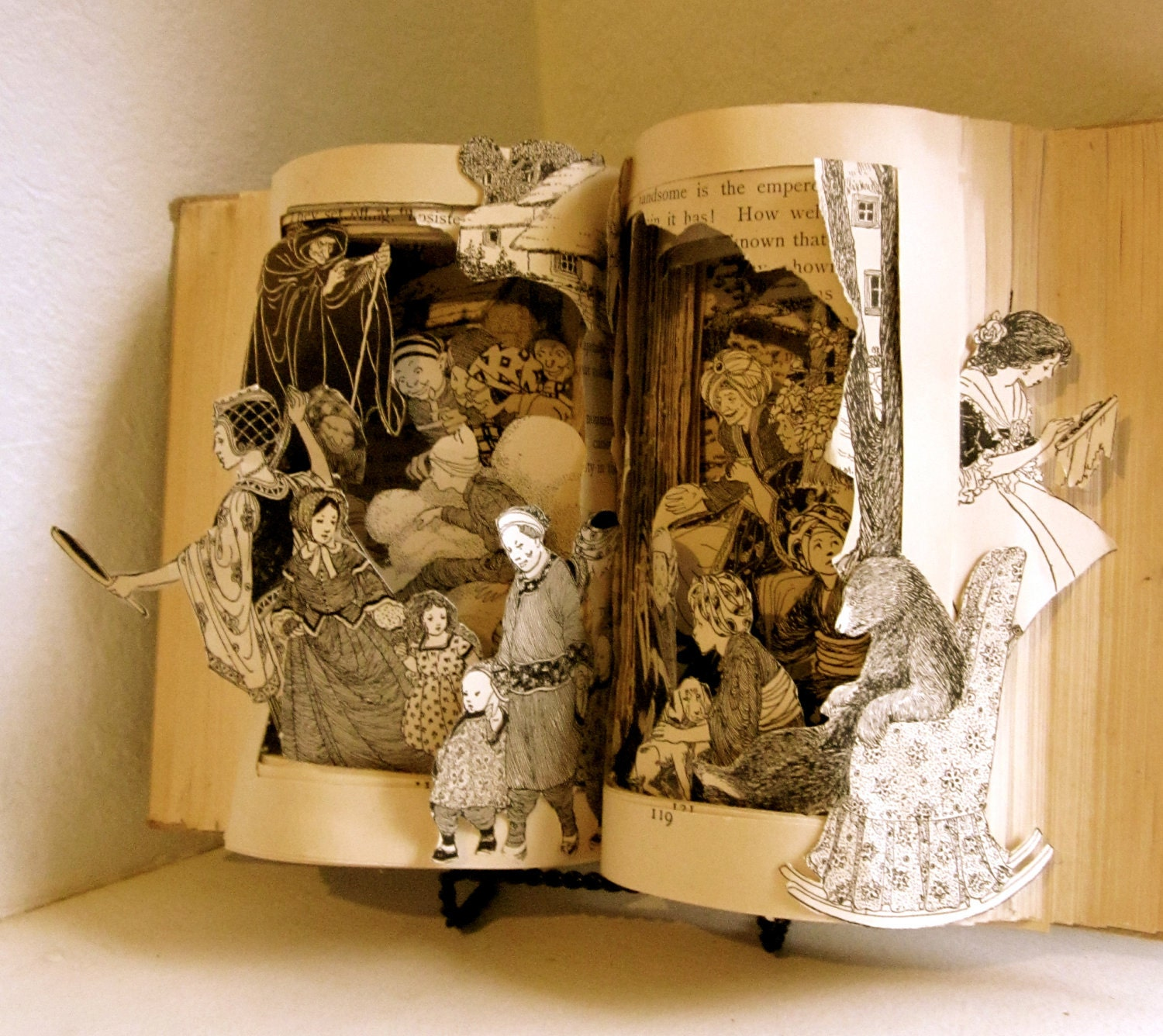 Fairy tale an altered book by raidersofthelostart on etsy for 3d sculpture artists