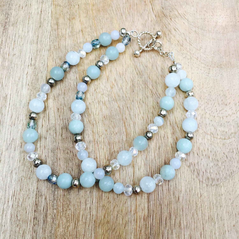 Blue gemstone bracelet aquamarine amazonite beads ice blue bracelet semi precious beads