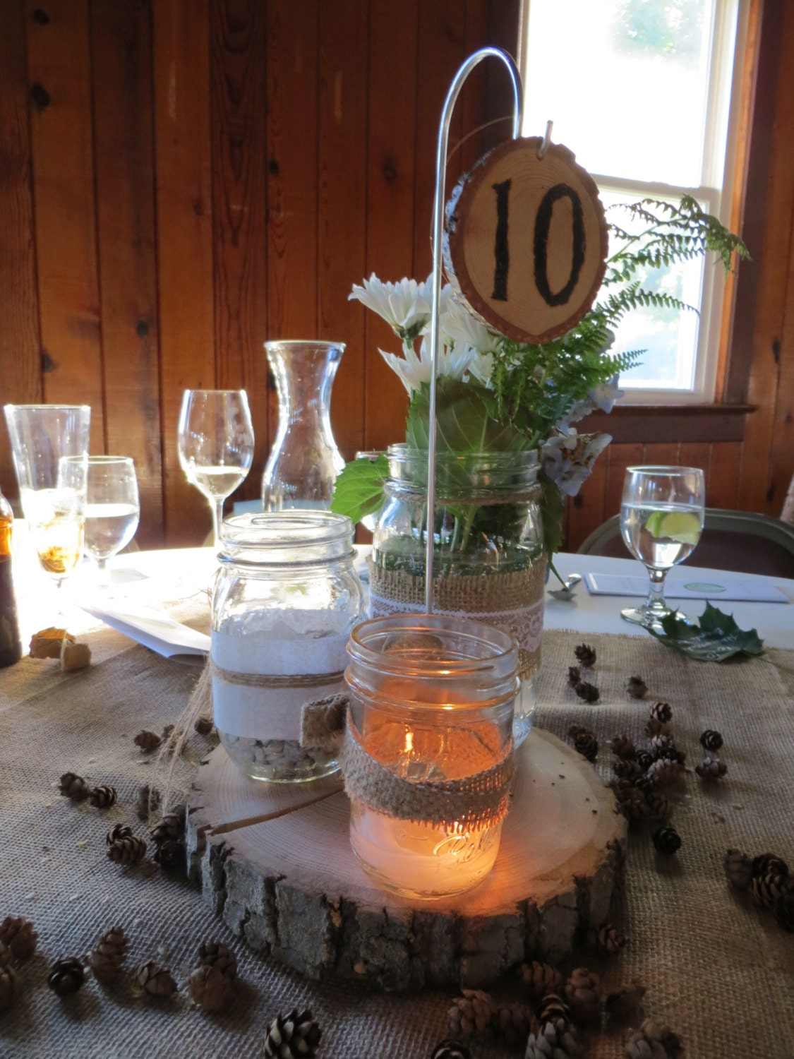 Five 5 large wood slice centerpiece hanging table number holders