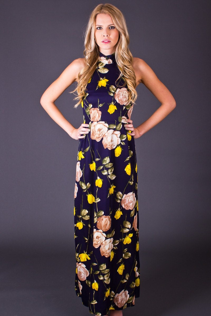 70s Vintage Rose Print Halter Maxi in Navy and Yellow - TelltaleHearts