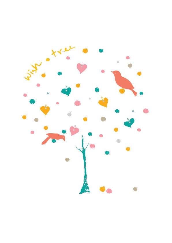 WIsh Tree - Baby Nursery Art Illustration Wedding Birthday Anniversary Gift Modern Home Decor Children decor