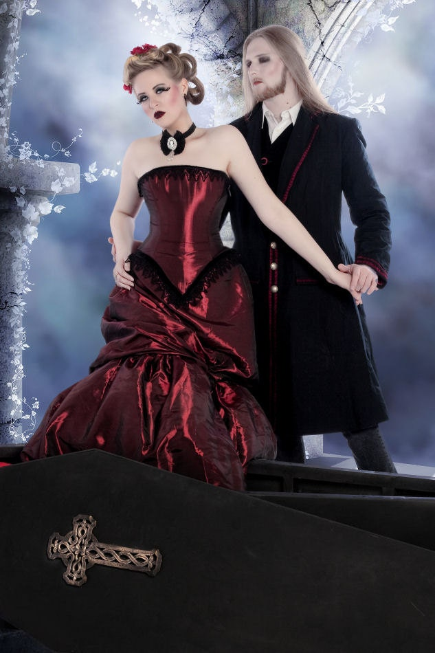Victorian Steampunk Dress Alternative Wedding Gown Elegant in Red Custom